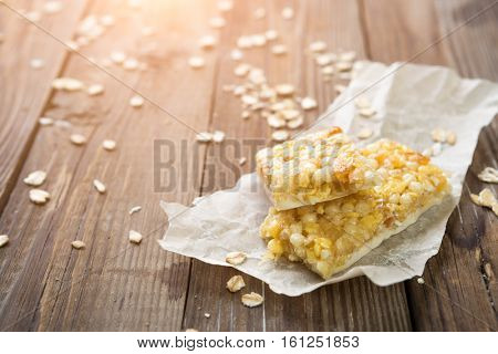 Granola cereal on wooden table