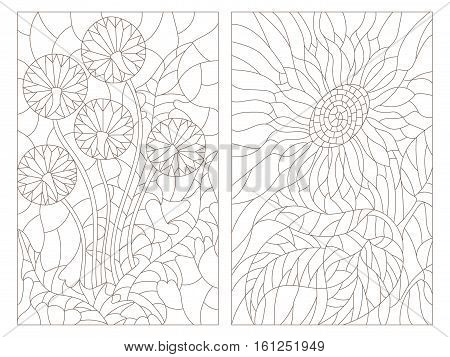 Set contour illustrations in the stained glass style abstract flowers of blowball and sunflower dark outline on a white background