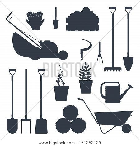 Set farm tools flat black silhouette-vector illustration. Garden instruments icon collection isolated on white background. Farming equipment.