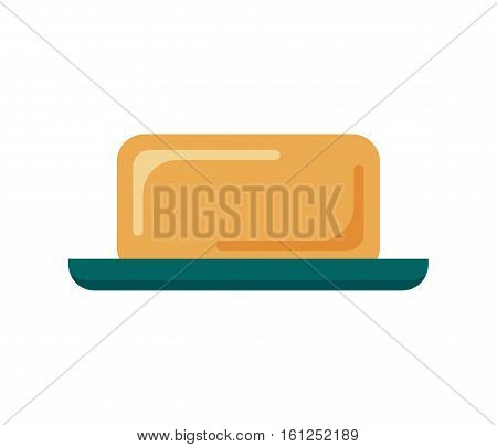 Flat soap with dish isolated on white background, icon logo vector illustration. Clean object, household equipment tool. Cleaning service, housekeeping cleanness.