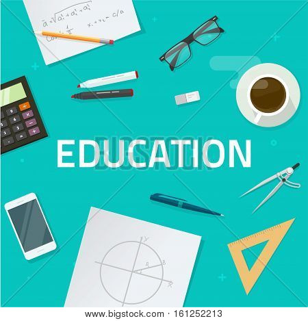 Education Objects On Work Desk Top View, School Lesson Study Concept,  Geometry Math Science