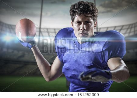 3D Portrait of sportsman throwing football against rugby pitch