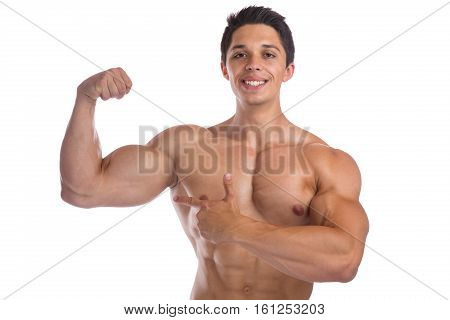 Muscles Biceps Bodybuilder Bodybuilding Flexing Strong Muscular Young Man Isolated
