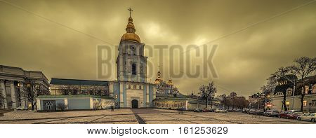 Kiev, Ukraine: St Michael's Golden-Domed Monastery and Cathedral in the sunset