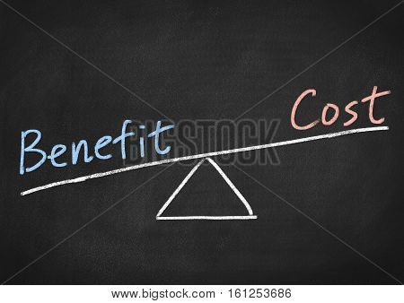 benefit cost concept text on blackboard background