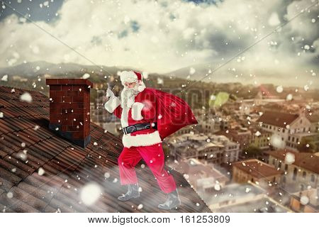 3D Santa walking with his sack and bell against city landscape