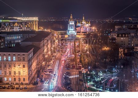 Kiev, Ukraine: aerial night view of the old town and St Michael's Golden-Domed Monastery and Cathedral