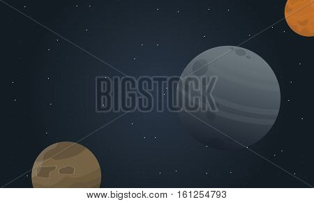 Vector illustration of planet space landscape collection stock