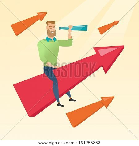 Caucasian businessman searching for opportunities. Hipster businessman using spyglass for searching of opportunities. Business opportunities concept. Vector flat design illustration. Square layout.