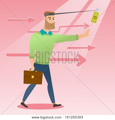 Money on fishing rod as motivation for businessman. Caucasian businessman motivated by money hanging on fishing rod. Concept of business motivation. Vector flat design illustration. Square layout.