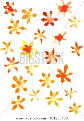 An abstract artistic background texture with bright yellow and orange watercolor florals. Scalable vector graphic