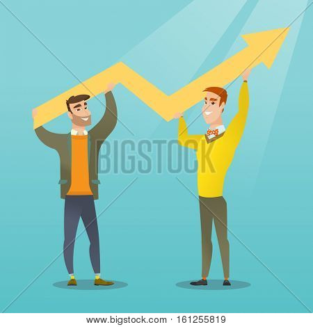 Two happy caucasain businessmen holding business growth graph. Successful business people carrying graph indicating growth. Business growth concept. Vector flat design illustration. Square layout.