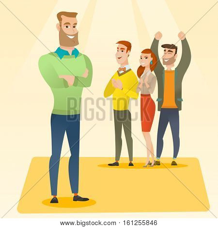 Audience applauding at business conference. Caucasian businessmen applauding at business seminar. Cheerful businessmen applauding during presentation. Vector flat design illustration. Square layout.