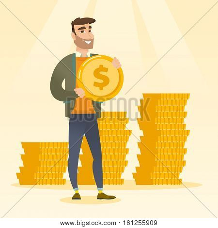 Young caucasian successful business man with dollar golden coin in hands. Successful business man holding golden coin. Concept of success in business. Vector flat design illustration. Square layout.