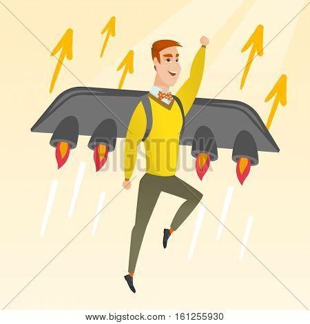 Businessman flying on business start up rocket. Man working on new startup project. Businessman flying with a jet backpack. Business start up concept. Vector flat design illustration. Square layout.