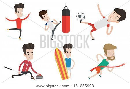 Caucasian boxer man exercising with boxing bag. Boxer hitting heavy bag during training. Male boxer training with the punch bag. Set of vector flat design illustrations isolated on white background.