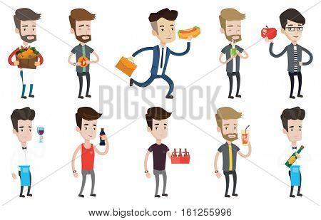Caucasian bartender holding wine bottle in hand. Bartender looking at glass of red wine. Young bartender examining wine in glass. Set of vector flat design illustrations isolated on white background.