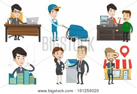 Caucasian man paying wireless with his smartphone at the supermarket checkout . Man making payment for purchase with smartphone. Set of vector flat design illustrations isolated on white background.