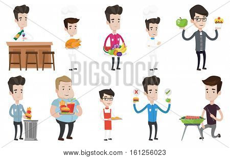 Caucasian man holding tray with fast food. Young man having lunch in fast food restaurant. Man putting fast food into a trash bin. Set of vector flat design illustrations isolated on white background.