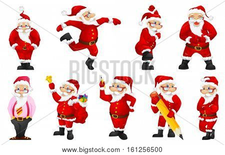 Set of cute Santa Claus writing with big pencil. Santa Claus standing with crossed arms. Set of smiling Santa Claus wearing glasses and business suit. Vector illustration isolated on white background.