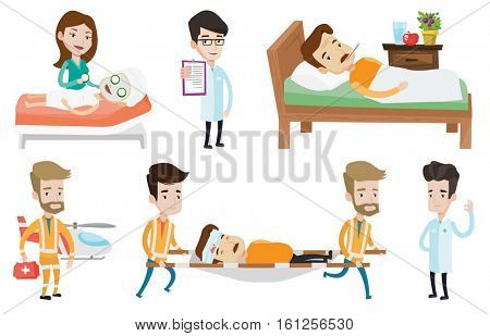 Emergency doctors carrying man on medical stretcher. Two emergency doctors transporting victim after accident on the stretcher. Set of vector flat design illustrations isolated on white background.
