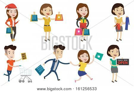 Young smiling man holding shopping bags. Happy caucasian man carrying shopping bags. Man standing with a lot of shopping bags. Set of vector flat design illustrations isolated on white background.