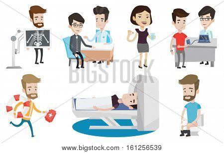Caucasian man undergoes a magnetic resonance imaging scan test. Magnetic resonance imaging machine scanning patient in hospital. Set of vector flat design illustrations isolated on white background.