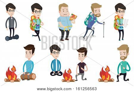 Young caucasian tourist sitting on a log near campfire. Torist roasting marshmallow over campfire. Tourist relaxing near campfire. Set of vector flat design illustrations isolated on white background.