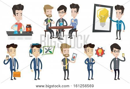 Man playing action game on smartphone. Man using smartphone for playing games. Businessman looking at smartphone and making selfie. Set of vector flat design illustrations isolated on white background