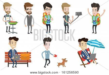 Caucasian businessman working on the bench in the park. Businessman working on a laptop. Smiling businessman working outdoors. Set of vector flat design illustrations isolated on white background.