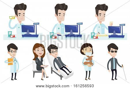 Caucasian pharmacist standing at the counter in the pharmacy. Pharmacist showing some medicine. Pharmacist holding a box of pills. Set of vector flat design illustrations isolated on white background.