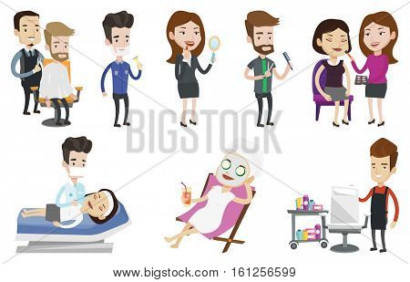 Barber cutting hair of young hipster man in barbershop. Professional barber making haircut to a client with scissors in barbershop. Set of vector flat design illustrations isolated on white background