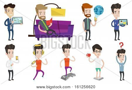 Man holding tablet computer with social network. Man social networking on tablet computer. Businessman using tablet computer. Set of vector flat design illustrations isolated on white background.