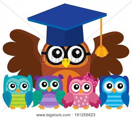 Owl teacher and owlets theme image 4 - eps10 vector illustration.