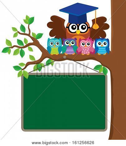 Owl teacher and owlets theme image 3 - eps10 vector illustration.