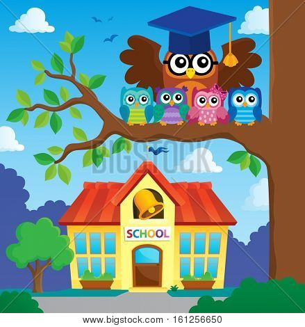 Owl teacher and owlets theme image 6 - eps10 vector illustration.