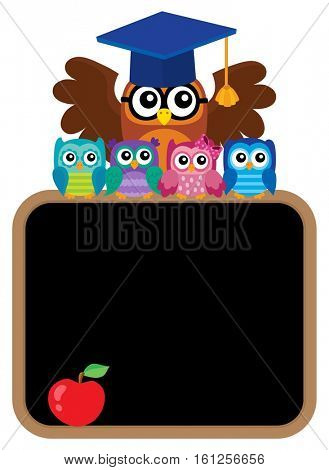 Owl teacher and owlets theme image 8 - eps10 vector illustration.
