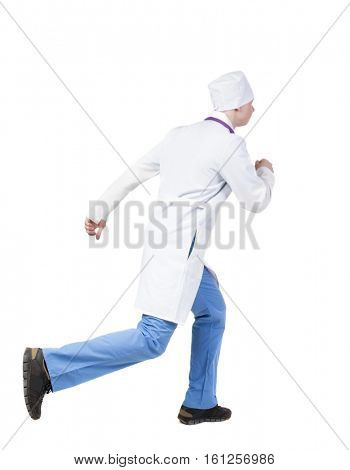 Back view of running doctor in a robe hurrying to help the patient. Walking guy in motion. Rear view people collection. Backside view person. Isolated over white background. nurse rushes for surgery