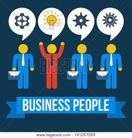 Think differently business people concept. Red leader out of crowd blue businessmen. Vector illustration isolated on dark background. Business, leadership out of box concept.