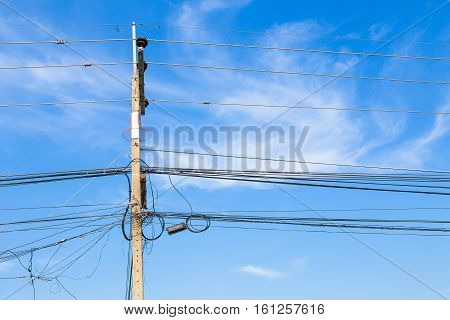close up Wire electric in pole it messy and chaotic