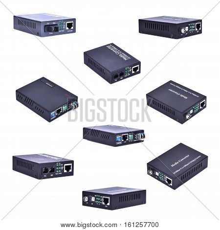 Fiber optic Media converter on white background