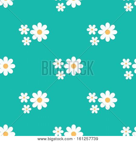 Primitive floral seamless pattern. Cartoon daisies on a blue background.