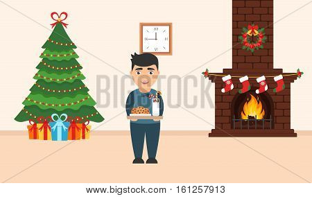 Festive design of the room. Brick fireplace Christmas wreath milk and cookies for cute Santa festive decorated treegifts and boy. Vector in flat style. Merry Christmas and Happy New year.