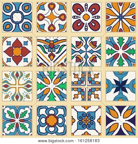 Vector set of Portuguese tiles. Collection of colored patterns for design and fashion. Azulejo Spanish Moroccan ornaments