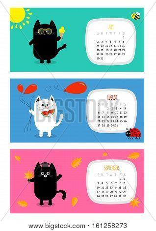 Cat horizontal calendar 2017. Cute funny cartoon white black character set. July August September month. Ice cream yellow sun shining sunglasses Red balloon watermelon fruit leaf Flat design Vector