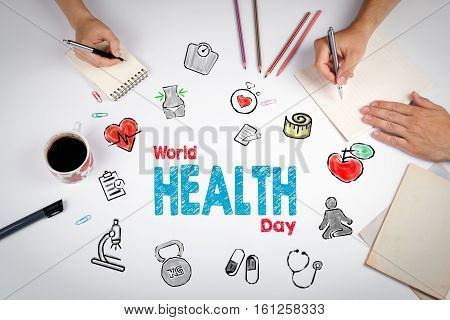 World health day concept. Healty lifestyle background. The meeting at the white office table.