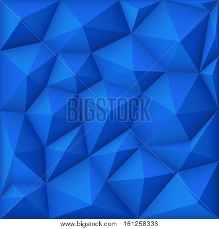 Blue mosaic polygon triangular vector background. Wallpaper polygon design illustration