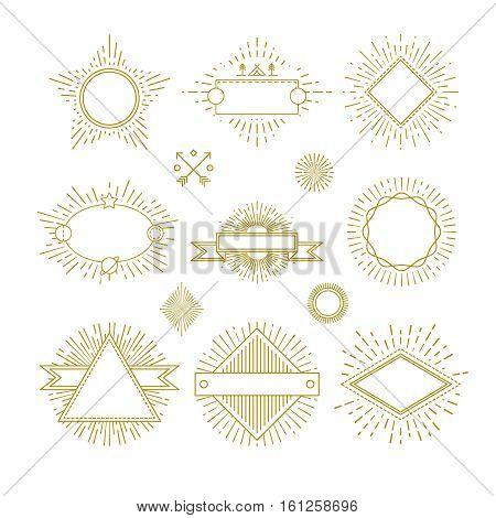 Vintage circle sunburst line emblems, badges, labels, logos with sunrise frame vector set. Template frame for logo with sunbeam, collection of sunburst badges illustration