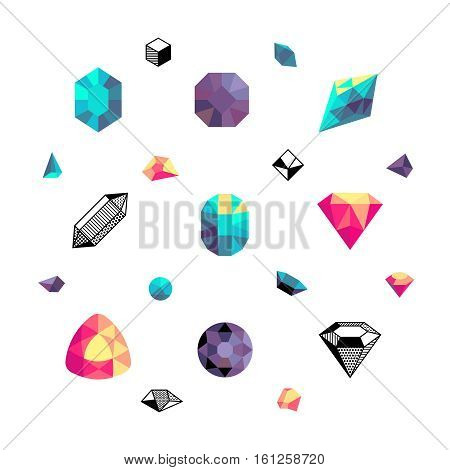 Color crystals, diamond shapes, polygon stones vector set. Crystal stone and gem stone precious illustration
