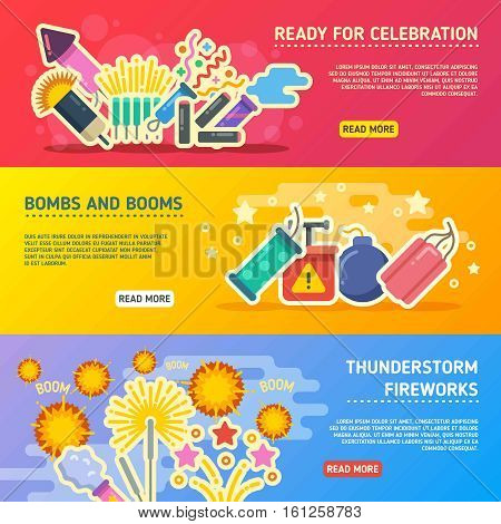 Holiday fire, crackers show set of vector business banners. Horizontal web page with bonm and petard for holiday illustration